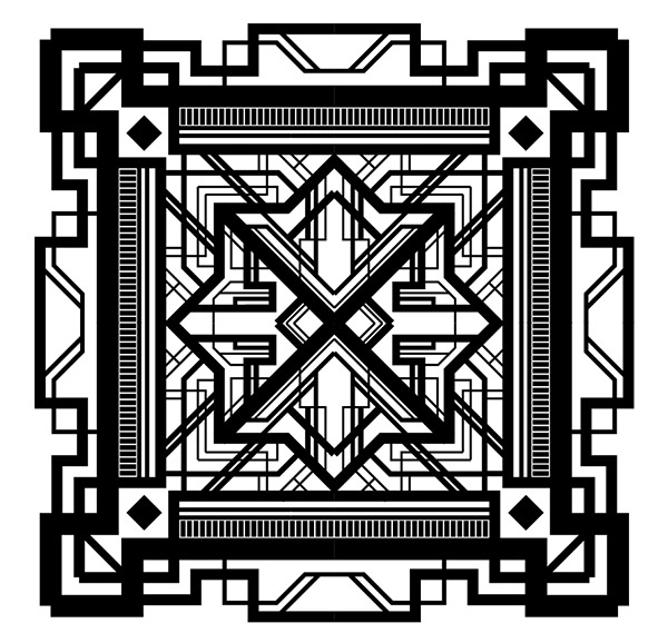 The overall pattern is looking really complex and definitely captures the art deco theme it looks a little boring in black and white though