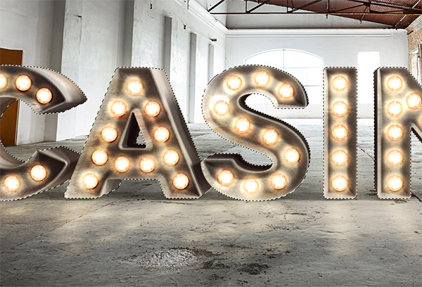 Realistic 3D Casino Style Bulb Sign Photoshop Tutorial