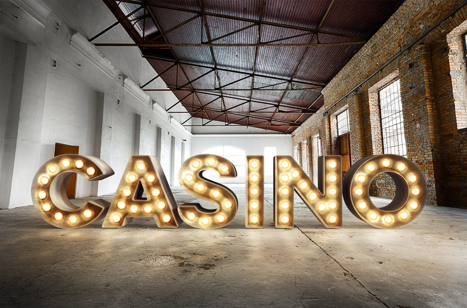 realistic 3d casino style bulb sign
