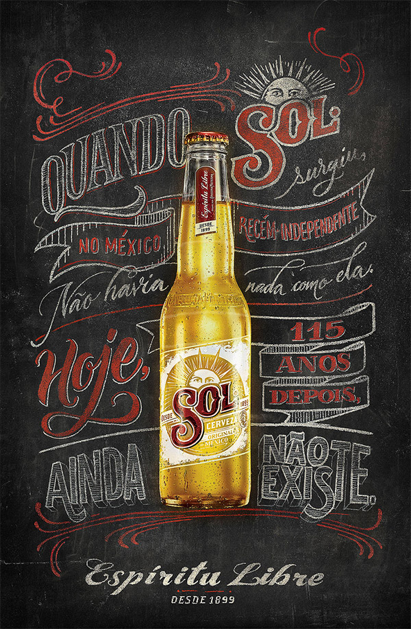 SOL Beer Chalk and Sign Painting by Jackson Alves