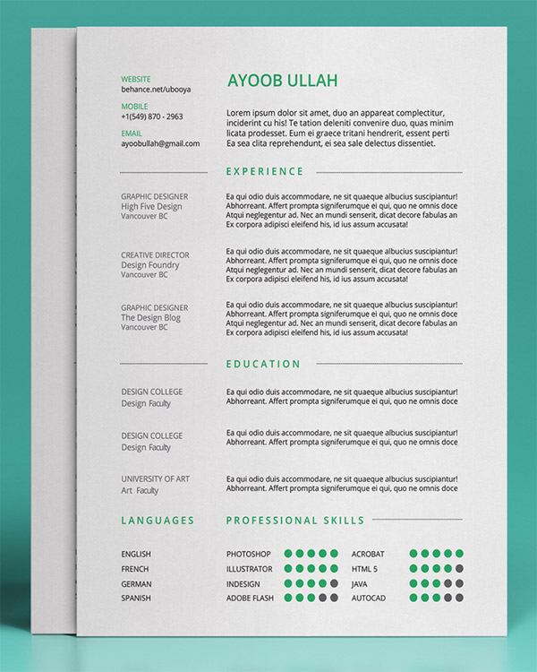 free resume template by ayoob ullah - Unique Resumes Templates