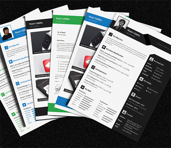 free multi page resume psd template