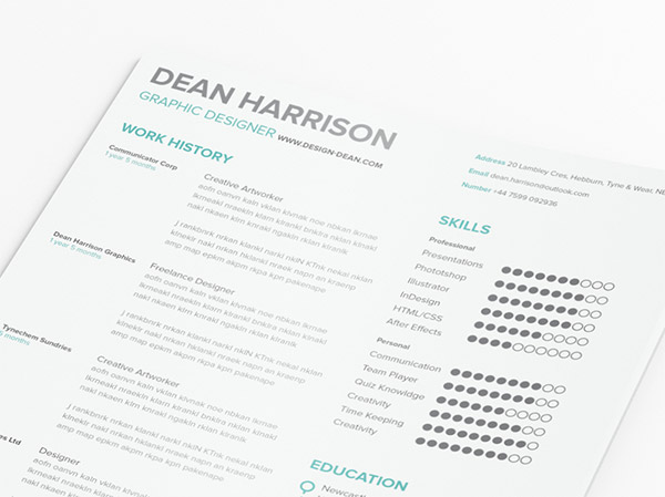Free Simple Resume By Dean Harrison  Simple Graphic Design Resume