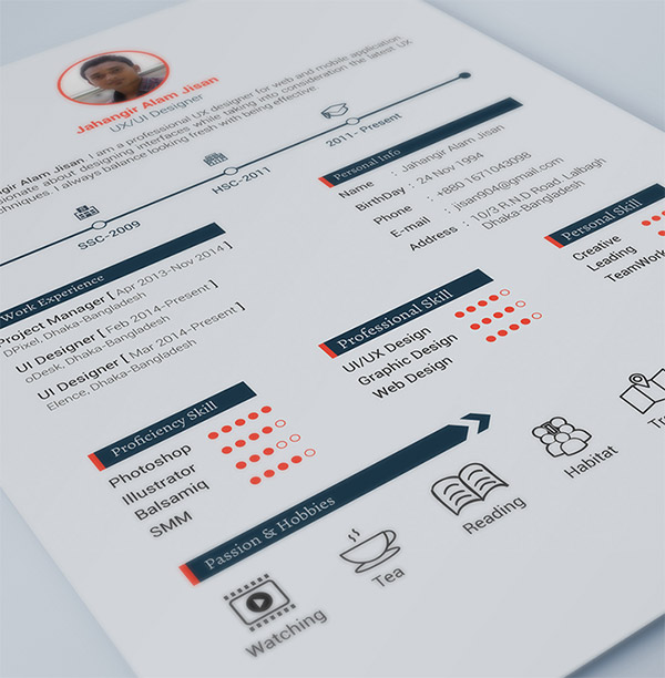free resume template by jahangir alam jisan - Free Usable Resume Templates