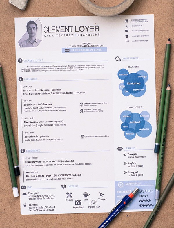 2015 resume template by clment loyer. Resume Example. Resume CV Cover Letter
