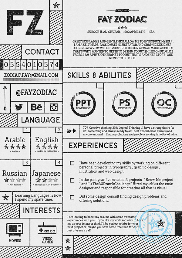 free resume template by fay zodiac
