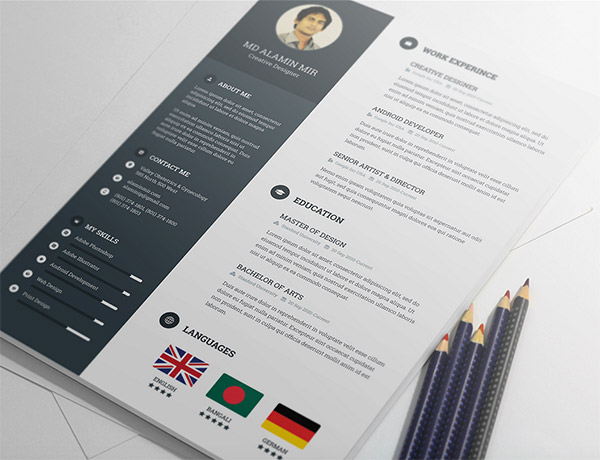 Free Resume Template By Alamin Mir  Free Creative Resume Templates