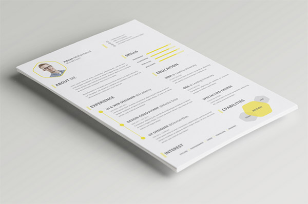Free PSD CV/Resume Template by PSDboom