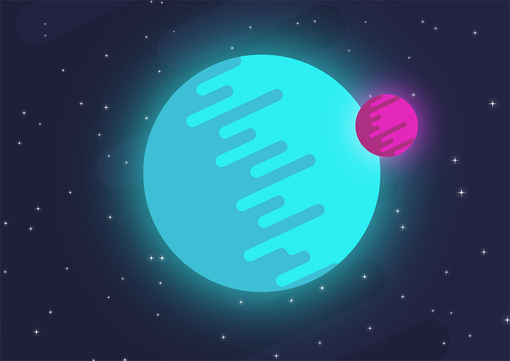 How to create a flat style vector planet in illustrator for Space art tutorial