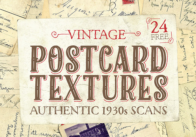 24 Free Authentic 1930s Vintage Postcard Textures