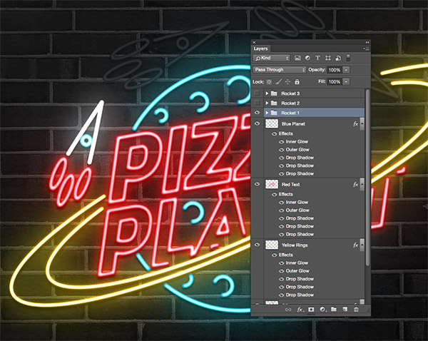 How to create an animated neon sign effect group all the elements that make up each rocket shape so they can be easily toggled on or off for the animation thecheapjerseys