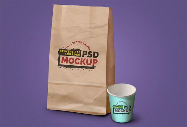 Grocery Bag PSD Mockup