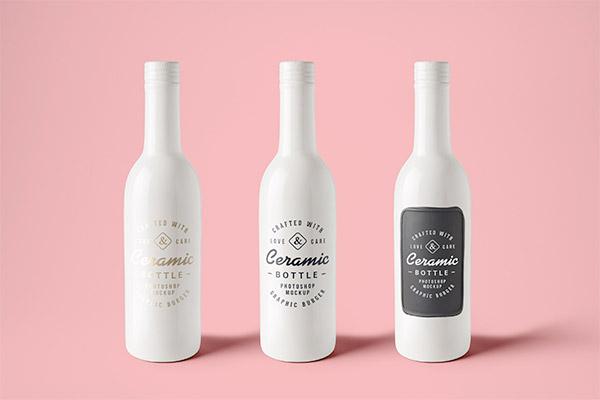 Ceramic Bottles PSD Mockup