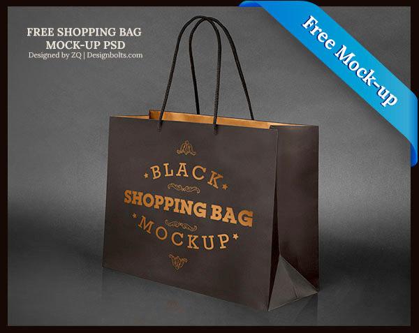 Free Black Shopping Bag Mock-Up PSD