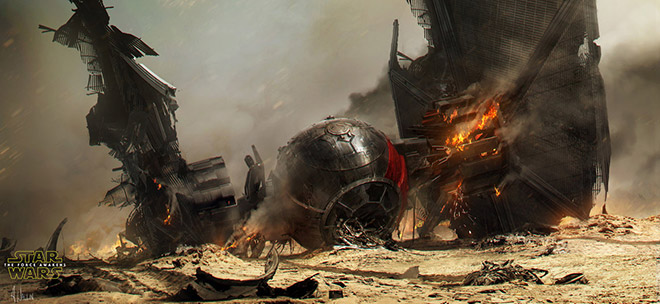 Star Wars: The Force Awakens Crashed TIE Fighter by AndreeWallin
