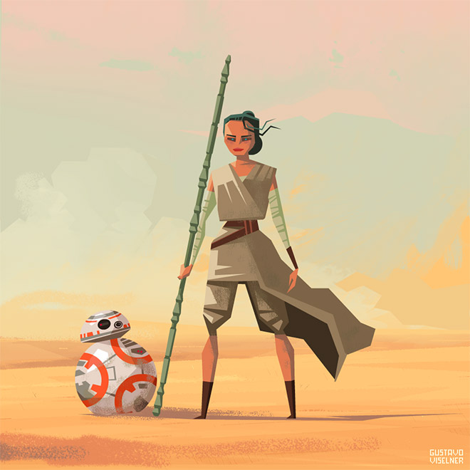 Rey and BB-8 by Gustavo Viselner