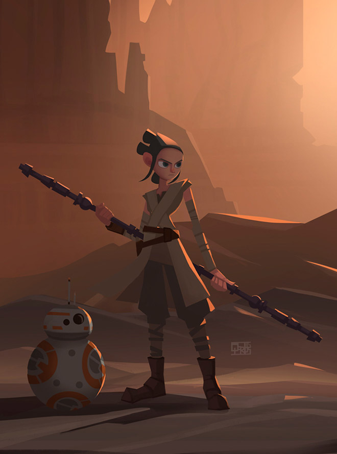 Rey - The Force Awakens by Qarlos