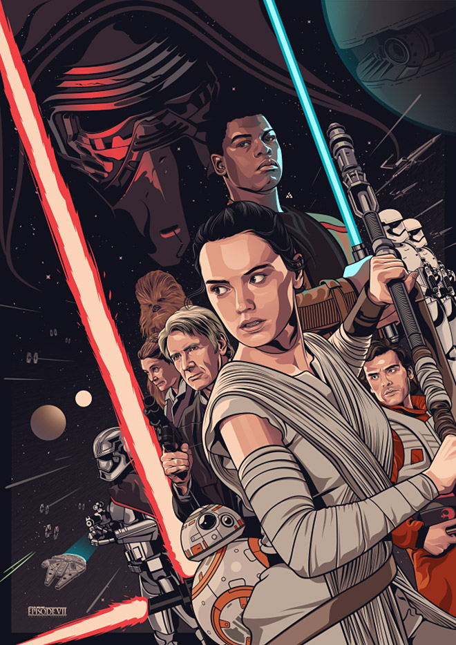 Star Wars: The Force Awakens Fan Poster by Amien Juugo