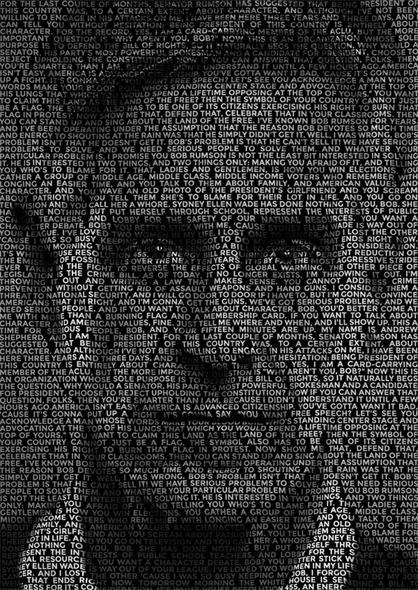 Text portrait effect