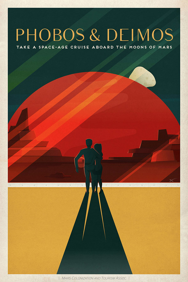 Phobos and Deimos Travel Poster by SpaceX