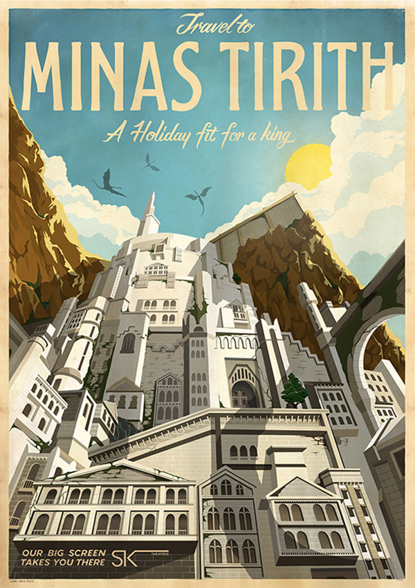 Minis Tirith Travel Poster by MUTI