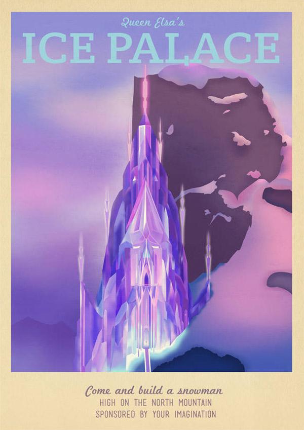 Elsa's Palace Disney Travel Poster by TeacupPiranha