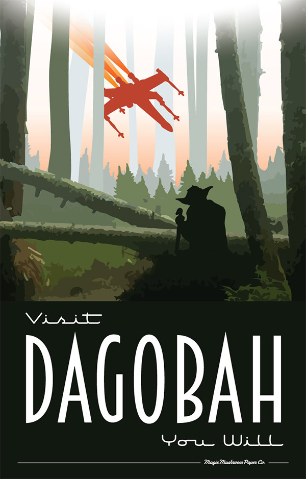 Dagobah Star Wars Travel Poster by MMPaperCo
