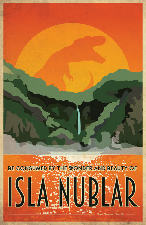 Isla Nublar Jurassic Park Travel Poster by MMPaperCo
