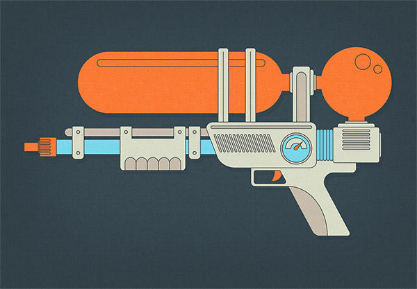 Super Soaker style water gun Illustrator tutorial