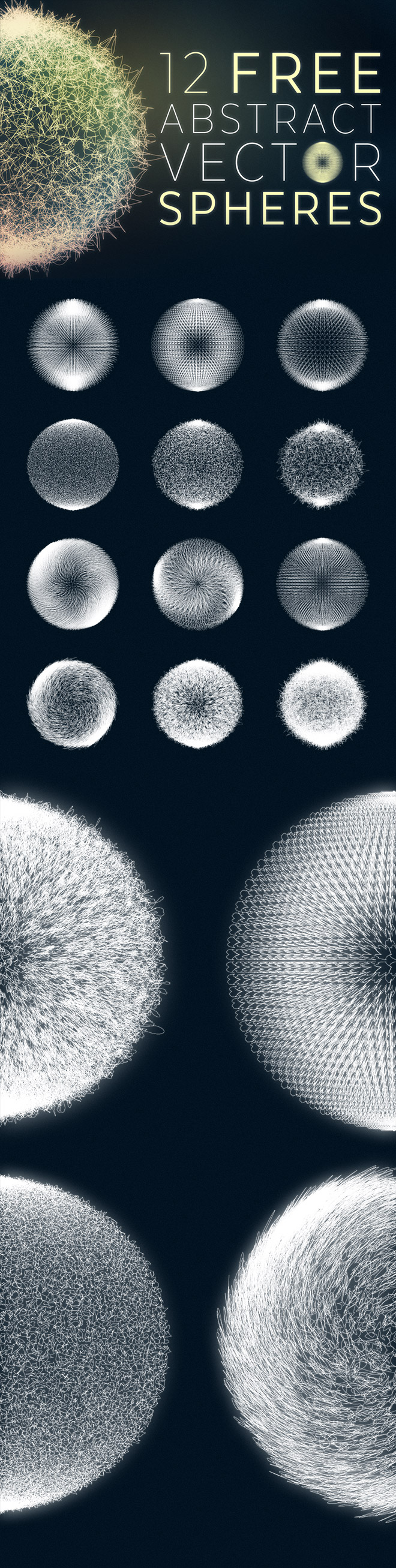 12 Free Abstract Vector Spheres