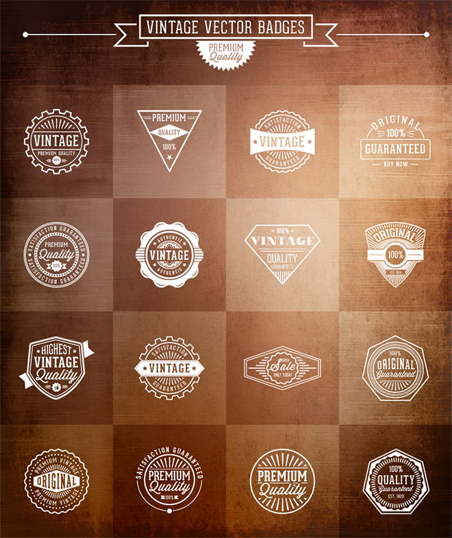 16 Vector Vintage Badges
