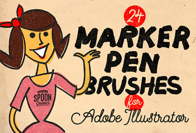 Free Pack of 24 Marker Pen Brushes for Adobe Illustrator
