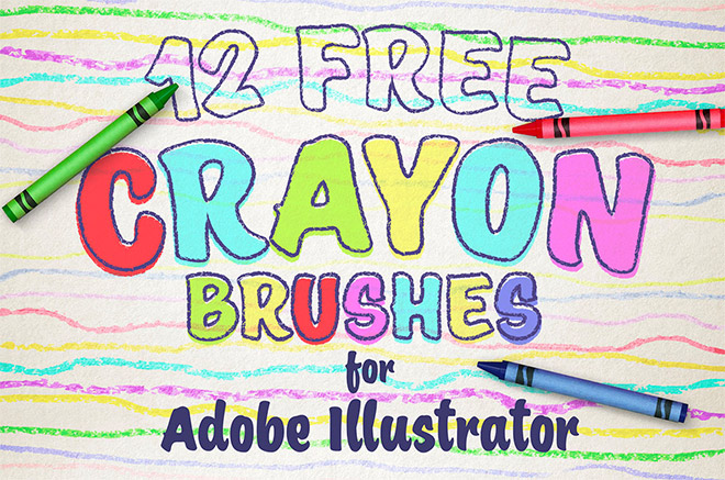 12 Free Wax Crayon Effect Brushes for Adobe Illustrator