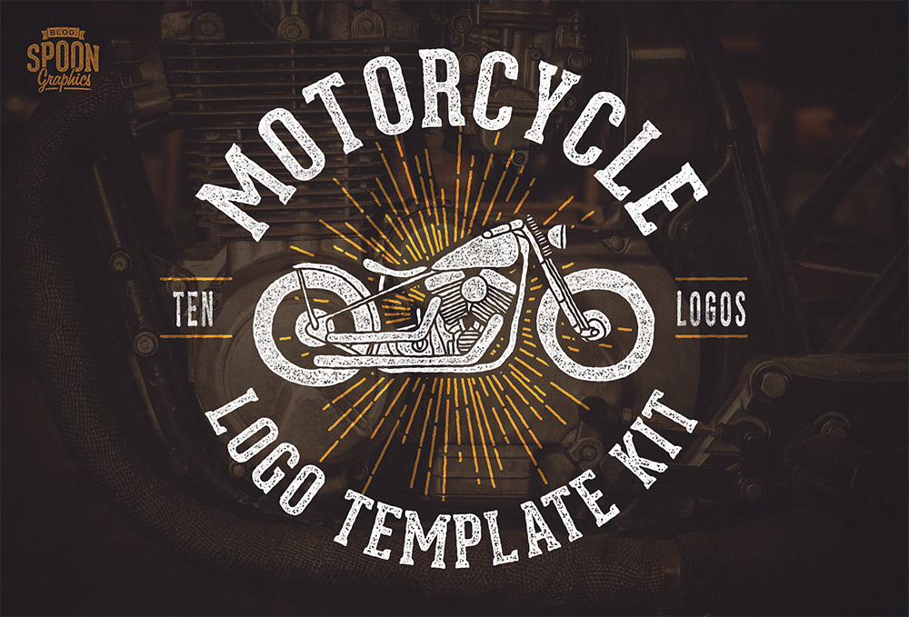 free motorcycle vector graphics logo template kit