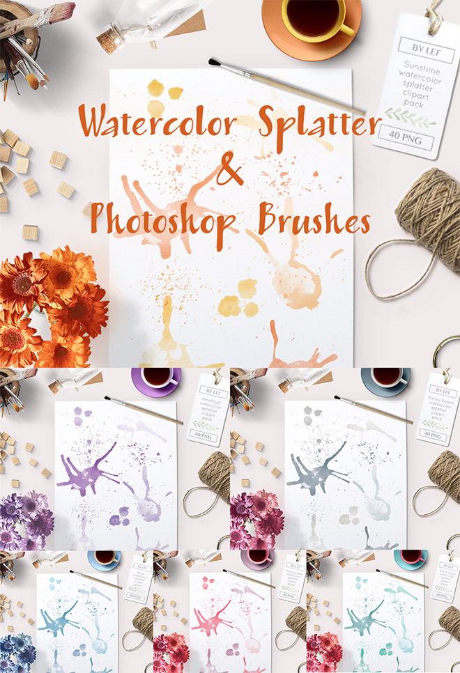 Watercolor Splatter & Photoshop Brushes