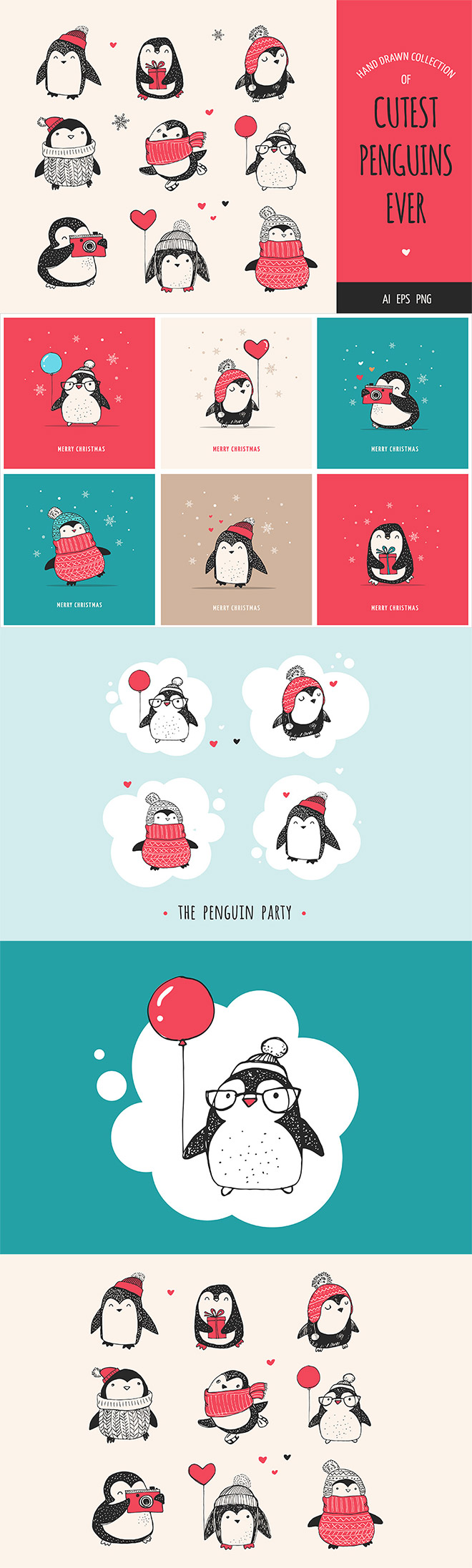Cute Penguin Icons & Christmas Cards