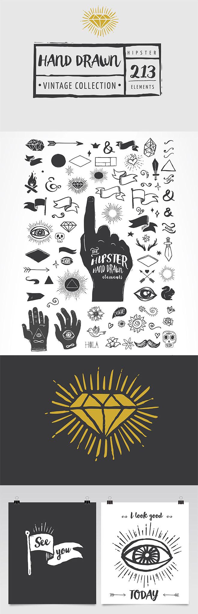 Vintage Hipster Hand-inked Elements