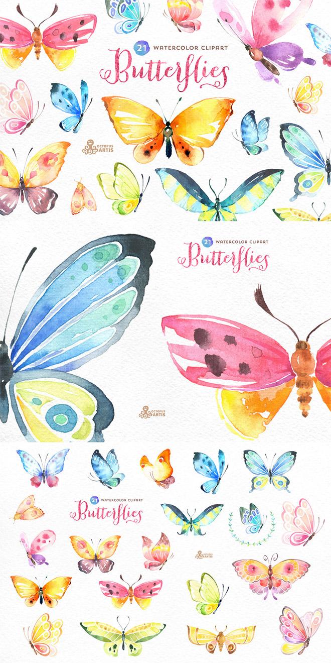 Butterflies Watercolor Set