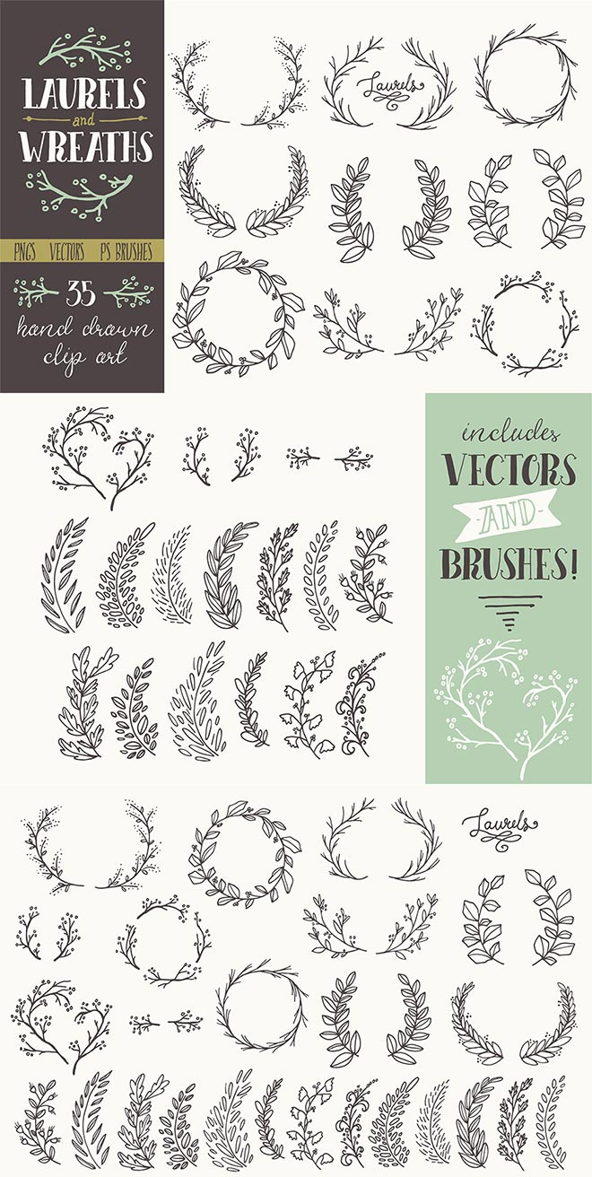 Whimsical Laurels & Wreaths Clip Art