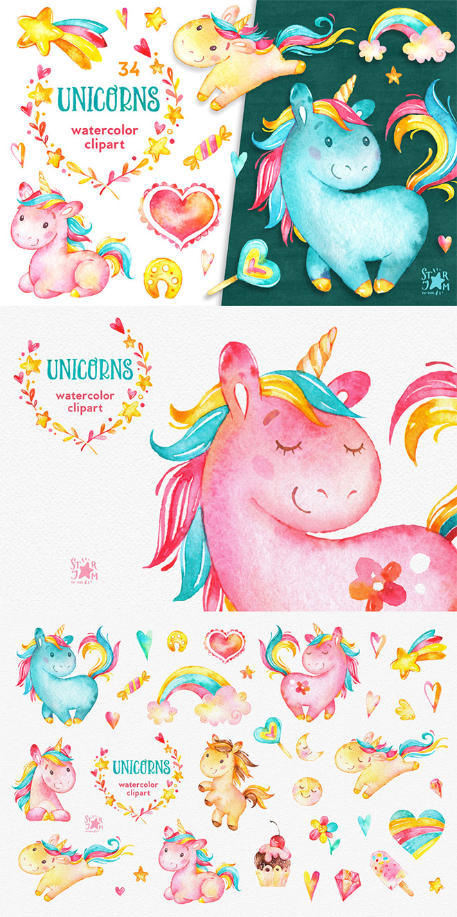 Unicorns Watercolor Clipart