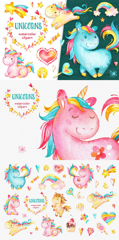 Unicorns Watercolor Clipart