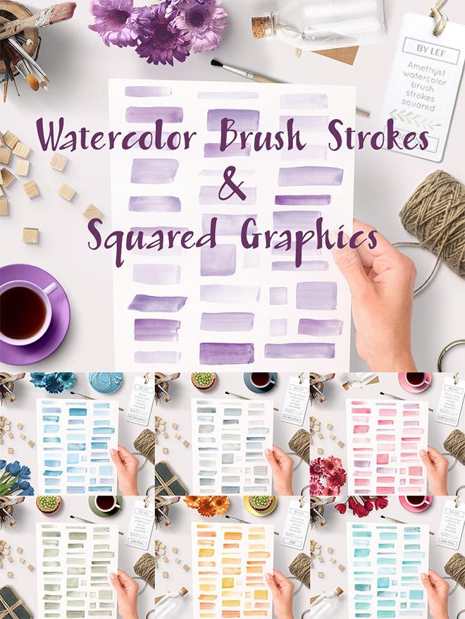 Watercolor Brush Strokes & Squared Graphics