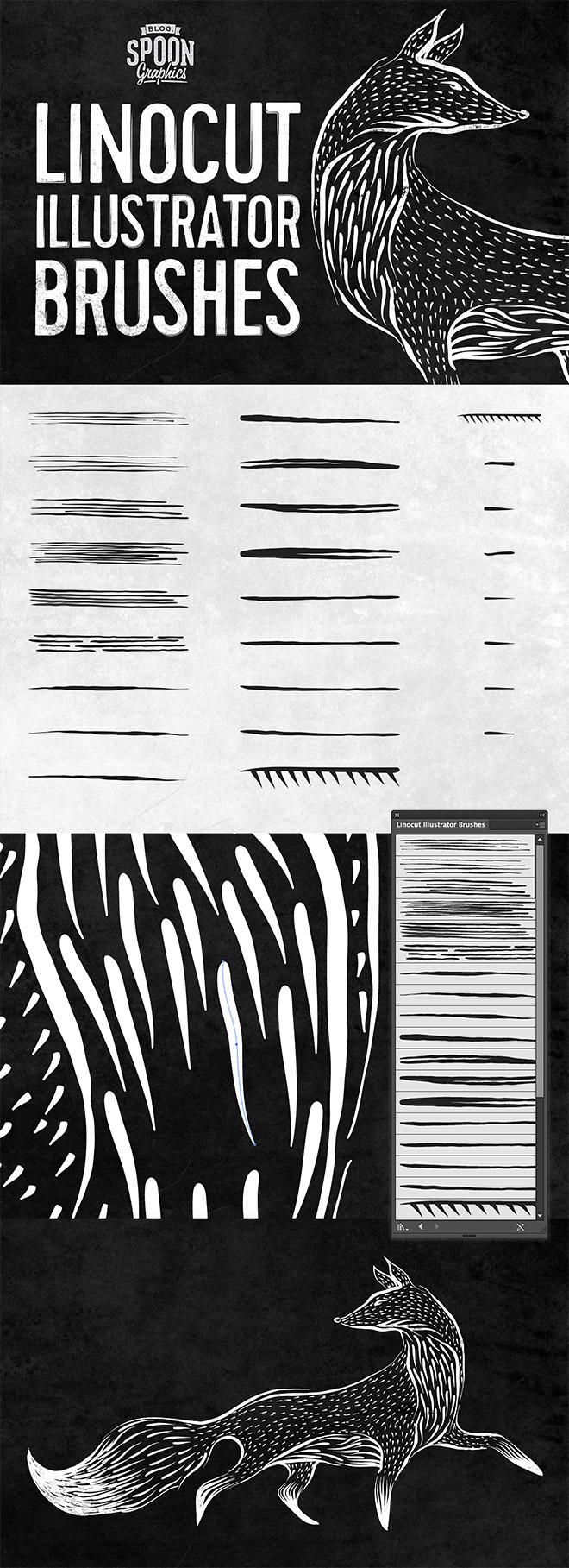 25 Free Linocut & Woodcut Brushes for Adobe Illustrator