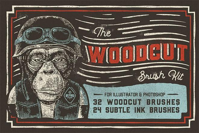 THE WOODCUT BRUSH KIT FOR ADOBE ILLUSTRATOR