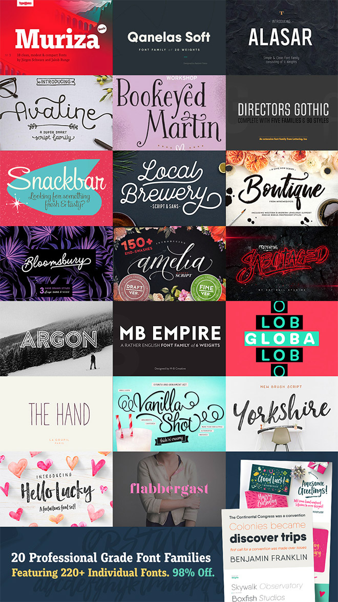 20 Professional Grade Font Families with 220 Fonts for Just $29