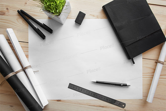 Sketch Paper Mockup Featuring Stationery Supplies