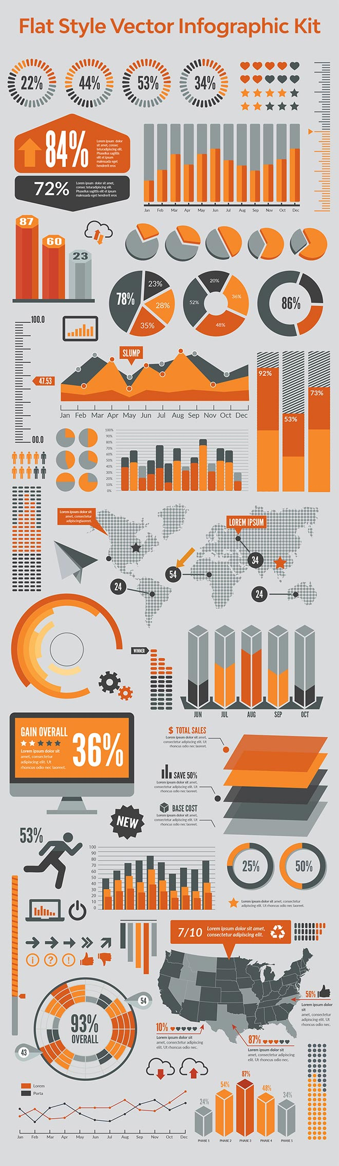 Flat Style Vector Infographic Kit