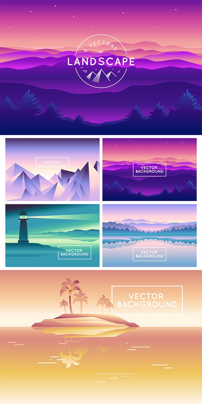 Landscape – 6 Vector Backgrounds