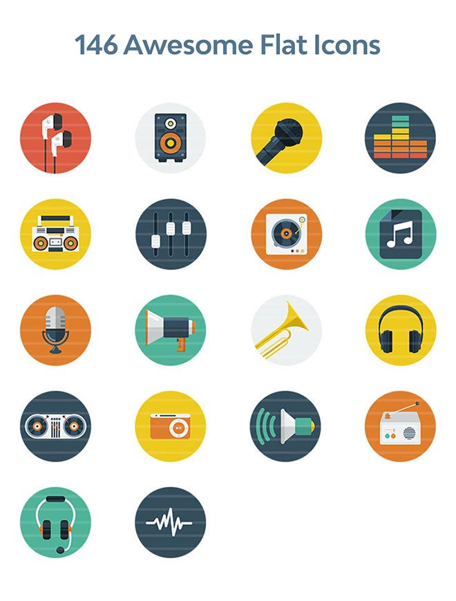 146 Awesome Flat Icons