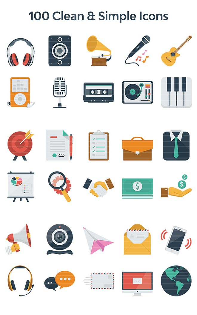 100 Clean & Simple Icons